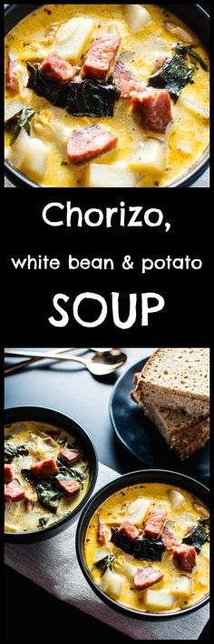 This chorizo, white bean, and potato soup is delicious and comforting. Garlic, onions, Swiss chard, and cream make this soup extra flavorful. Pin for later :)