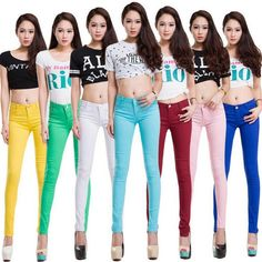 Whole cotton Seven colors pinkycolor Elastic force Pencil pants high waist jeans woman skinny women jeans mujer jean plus size - Hot Products Tommy Hilfiger Jeans, Pantalon Long, Straight Trousers, Pants For Women, Clothes For Women, Women Trousers, Casual Jeans, Women's Casual, Stretch Pants