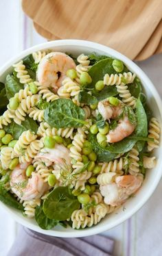 Here's a simple to make but deliciously unique pasta salad that combines fresh dill with shrimp in a flavorful dressing. Add your favorite chopped raw vegetables for extra color and crunch.