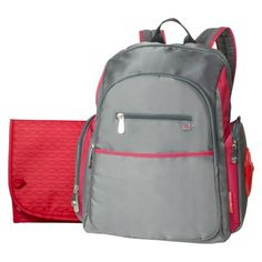 Fisher-Price Ripstop Diaper Bag Backpack - Grey/Red. $40 from target. Boring, but Kevin might not feel so demasculinized...