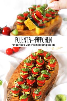 Polenta-Häppchen - Fingerfood - Antipasti - vegan von Kleinstadthippie POLENTA-HÄPPCHEN: With these delicious finger foods you could score at every party! Vegan snacks that convince! # polenta s Polenta Appetizer, Vegan Appetizers, Finger Food Appetizers, Appetizers For Party, Party Snacks, Fingerfood Recipes, Brunch Recipes, Breakfast Recipes, Vegan Recipes