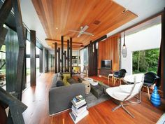 australian beach house. Love the different woods and the wood ceiling is genius