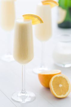 Orange Creamsicle Mimosas - You know peaches 'n cream are a delicious pair, but have you tried orange juice and cream? Together they taste just like a creamsicle. Combine 2 parts orange juice with 1 part heavy cream and stir well. Top off with 1 part champagne. Garnish with orange.