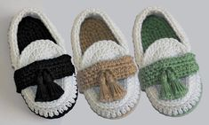 Crochet Baby Boy Booties Loafers by Leftystitches on Etsy