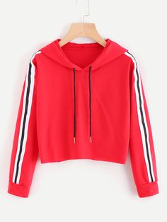 Contrast Striped Drawstring Hoodie - Sweat Shirt - Ideas of Crop Top Hoodie, Cropped Hoodie, Red Hoodie, Hoodie Outfit, Girls Fashion Clothes, Teen Fashion Outfits, Cool Outfits, Ootd Fashion, Fashion Ideas