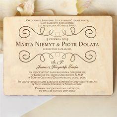 Drewniane zaproszenia ślubne z ozdobnym wzorkiem rustykalnym