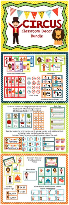 This is 117-page bundle includes everything you need to get your circus-themed classroom decorated. It includes word wall materials, number posters, color posters, table signs, station signs, calendar materials, memo board, desk tags, and more!