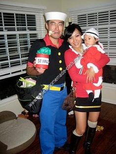 Coolest homemade popeye and olive oyl costumes pinterest coolest homemade popeye olive oyl and sweet pea group halloween costume solutioingenieria Image collections