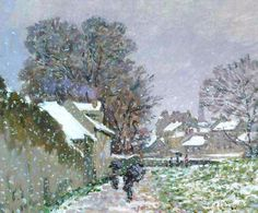 Snow at Argenteuil ,1874 (ENLARGED DETAIL) Claude Monet