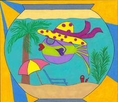 Whimsical Fish Print - Day at the Beach on Etsy, $20.00