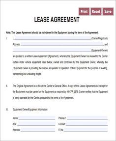 Lease Agreement For Trucking Owner Operator Lease Agreement Lease Agreement
