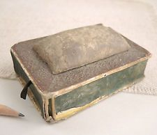 Antique Pincushion Sewing Box Marbled Paper Matchbox 18th-19th Century Child's