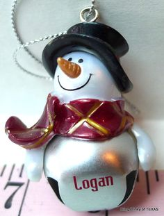 #LOGAN Jingle Bell Christmas Mini Snowman Personalized Name Ornament
