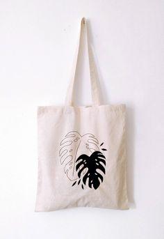 Black monstera TOTE BAG  | hand painted | shopping bag, grocery bag, reusable bag, shoulder bag, minimalistic, plant lady, boho bag, tropic by miskabags on Etsy