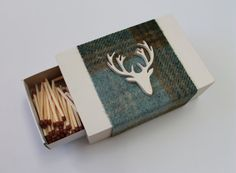 Matchbox Cover in Wood and Tweed with Stag Head Design for Cook's Matches, Tweed Matchbox Cover, Gift for Men, Gift for Woman