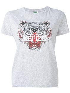 KENZO Kenzo Women S Grey Tiger Head T-Shirt Wt Red Mouth.  kenzo   f02ecb6e62d