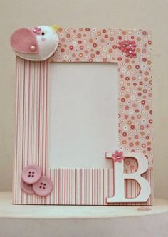 Handmade Crafts, Diy And Crafts, Crafts For Kids, Arts And Crafts, Baby Frame, Frame Crafts, Button Crafts, Baby Decor, Toddler Activities