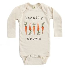 """Organic """"Locally Grown"""" Carrot Edition Unbleached Onesie, Long Sleeve"""