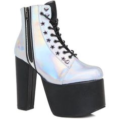 Demonia Lightspeed Holographic Boots ($82) ❤ liked on Polyvore featuring shoes, boots, sexy platform shoes, side zip boots, platform boots, tall boots and sexy shoes