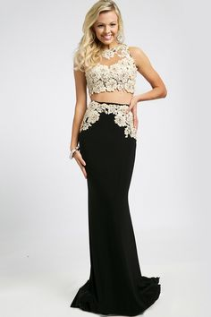 Striking two-piece sleeveless elegant floor length long evening prom dress featuring an open back and sheer high neckline. Description from huntdresses.com. I searched for this on bing.com/images