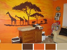 African Decorating Ideas for babies room. Color scheme.