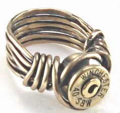 Pure brass, wire-wrapped, recycled bullet shell casing ring. Size 6.