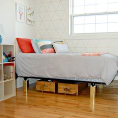 Under bed storage boxes for small spaces that you can make yourself! A simple DIY tutorial for putting together boxes in custom dimensions using non-swivel wheels! Under Bed Storage Boxes, Crate Storage, Storage Organization, Couch Storage, Bedroom Storage, Organizing, Wood Bed Risers, Wood Beds, Rolling Storage