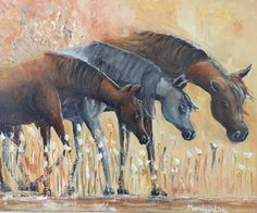 Three Arabian horses  Oil over canvas  Private collection