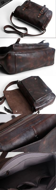 Handmade leather men satchel bag messenger large vintage shoulder