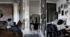 Stora mönster, djupa färger, mörka träslag, fantastiska tavelväggar och säregna detaljer. Den här vackert inredda sekelskifteslägenheten för tankarna till Paris.
