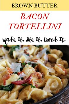Brown butter…delicious, Bacon…delicious, Tortellini…delicious. Do I need to say more!? How to make the best tortellini - this is an easy and delicious recipe the whole family will enjoy.  Clic for the recipe. Family Meal Planning, Family Meals, Family Recipes, Delicious Dinner Recipes, Great Recipes, Yummy Food, Food Dishes, Main Dishes, My Favorite Food