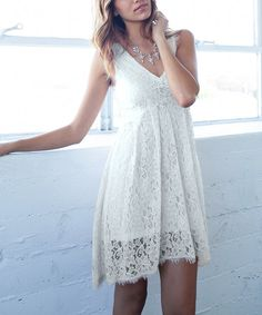 Look at this Potter's Pot Off-White Lace V-Neck Dress on #zulily today!