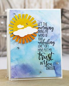 Hand stamped card by Betty Wright using the Psalm 143:8 stamp from the Good Work set from Verve. #vervestamps #faithstamping