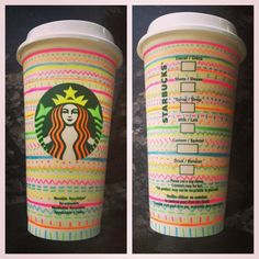 DIY travel coffee cup decorated with Neon Sharpies Starbucks Cup Design, Best Starbucks Drinks, Starbucks Art, Starbucks Birthday, Coffee Cup Art, My Coffee, Travel Coffee Cup, Cup Decorating, Diy Mugs