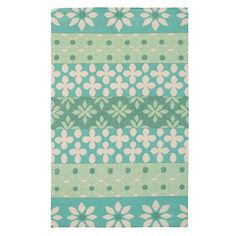 New Zealand wool rug with a contemporary floral design in green. Hand-tufted in India.    Product: RugConstruction Materia...
