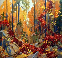 """""""Autumn's Garland"""" - by member of the Group of Seven Canadian painters, Tom Thomson. Canadian Painters, Canadian Artists, Landscape Art, Landscape Paintings, Canada Landscape, Tree Paintings, Forest Landscape, Watercolor Landscape, Tom Thomson Paintings"""