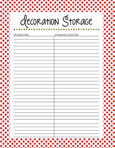 Free Christmas Printable  I  Decoration Storage
