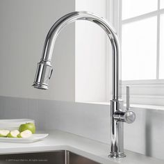 Kraus Sellette Single Handle Pull Down Kitchen Faucet with Dual Function Sprayhead, Chrome Finish in Touch On Kitchen Sink Faucets. Black Kitchen Faucets, Kitchen And Bath, Kitchen Faucets Pull Down, Kitchen Sinks, Bathroom Faucets, Kitchen Backsplash, Elegant Kitchens, Black Kitchens, Thing 1