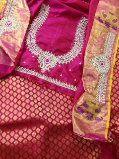Blouse Designs Catalogue, Kids Blouse Designs, Hand Work Blouse Design, Simple Blouse Designs, Wedding Saree Blouse Designs, Pattu Saree Blouse Designs, Blouse Designs Silk, Designer Blouse Patterns, Maggam Works