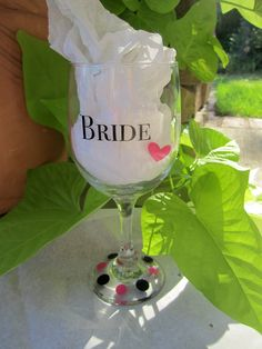 This is THE wine glass for the Bride in your life. Perfect for a Bachelorette party or for a fun and casual wedding. The bride will stay hydrated all night while sipping from this cute glass.