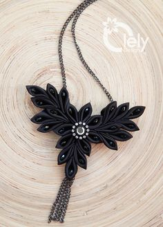 Black necklace statement necklace kanzashi by OlelyDesign on Etsy