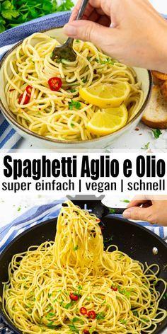 Spaghetti aglio e olio ist einfach das perfekte Nudelgericht für stressige Tage! Die Zubereitung könnte nicht einfacher sein und man braucht nur ganz wenige Zutaten. Und das Gericht ist in etwa 10 Minuten fertig und ist voller Geschmack! #vegan #vegetarisch