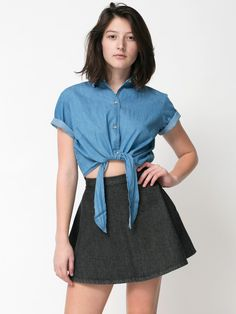Denim Mid-Length Tie-Up Blouse | Crop Tops | Womens Collared Shirts | American Apparel