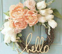 Blush and Gold Wreath von ChathamLaneBoutique - Best Diy Home Projects Gold Wreath, Diy Wreath, Wreath Ideas, Grapevine Wreath, Floral Wreath, Diy Décoration, Diy Crafts, Diy Deco Rangement, Deco Originale