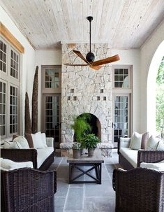 Great covered porch with fireplace