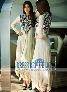 Off-white Double-layered Long Shirt with Churidar Pajamas Embroidered Party wear Salwar Kameez Threa Pakistani Party Wear, Pakistani Outfits, Indian Outfits, Indian Attire, Indian Wear, Salwar Kameez, Churidar, Eastern Dresses, Desi Wear