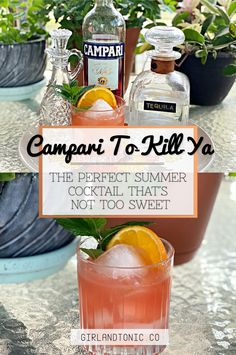 Campari Cocktails, Cocktail Bitters, Sweet Cocktails, Easy Cocktails, Rum Cocktail Recipes, Drink Recipes, Tequila Drinks, Alcoholic Beverages, Cucumber Vodka