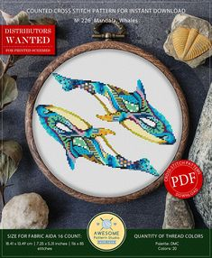 This is modern cross-stitch pattern of Mandala Whales for instant download. You will get 7-pages PDF file, which includes: - main picture for your reference; - colorful scheme for cross-stitch; - list of DMC thread colors (instruction and key section); - list of calculated