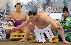 Grand champion Hakuho of Mongolia performs ancient ritual