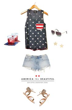 4th of July outfit - distressed shorts + patriotic tank top!- longer shorts would be good for me!